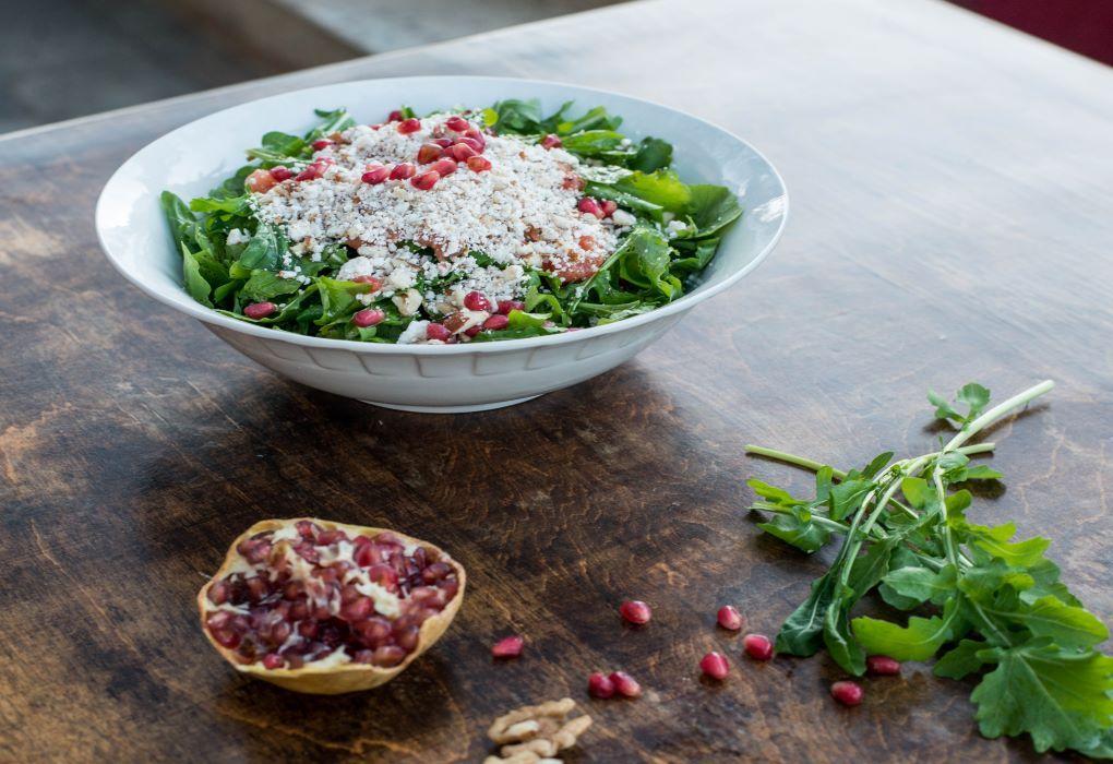 Bourakis Restaurant - Green Salad with pomegranates